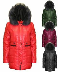 Ladies Women Detachable Faux Fur Hood Trim Quilted Padded Coat Jacket