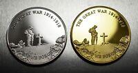 Pair Commemorative World War 1 Armistice/Remembrance Day Coin Lest We Forget WW1
