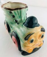 Vintage Train Engine Shoe Planter Vase Made In Japan Anthropomorphic Face