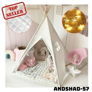 Kids Teepee Tent with Mat & Light String& Carry Case- Kids Foldable Play Tent