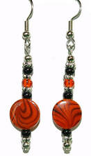 Black & Orange Swirl Shell Beaded Halloween Dangle Earrings (H374)