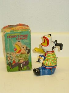 Vtg Tin Litho T.P.S. Mechanical Candy Loving Canine, Wind Up Toy in Box, Works