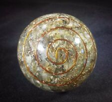 LARGE (60-70mm) LABRADORITE ORGONE GEMSTONE SPHERE ORGONITE SPHERE