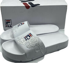FILA Womens Drifter Rose Embroidery White Slide Sandals Size 8 - New in Box!