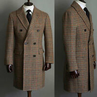 Men Wool Houndstooth Blazers Overcoat Double-breasted Warm Long Suits Tailored