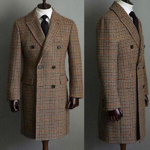 Männer Wolle Hahnentritt Mantel Zweireiher Winter Warme Lange Anzüge Smoking