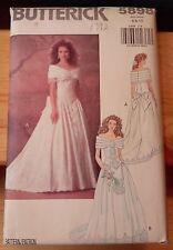 Vintage BUTTERICK PATTERN Formal Wedding Gown Dress 5898 Size 6, 8,10 Uncut