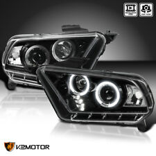 Jet Black 2010-2014 Ford Mustang Halogen Version LED Projector Headlights Pair