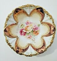 """R S Prussia--Tiffany dome mold and roses bowl --10.5"""""""