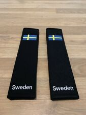2X Seat Belt Pads Cotton Gifts Sweden Scania Volvo Saab Flag World Race Tuning