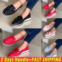 Women's Tassel Round Toe Slip On Loafers Ladies Flat Casual Summer Comfort Shoes