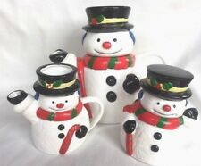 Snowman Teapot Set Christmas Sugar Creamer Ceramic Coffee Unused