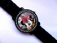 Unusual Black and Crystal Minnie Mouse Adult Watch Black Silicon Strap