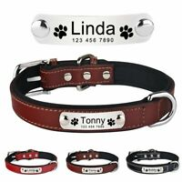 Personalised Dog Collar Leather Custom Engraved Name Tag ID XS S M L Pet Puppy