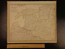 1844 BEAUTIFUL Huge Color MAP of Northwest Russia St Petersburg to Vilna ATLAS
