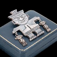 Antique Vintage Deco 925 Sterling Silver Mexican Aztec Figural Pin Brooch 39.7g