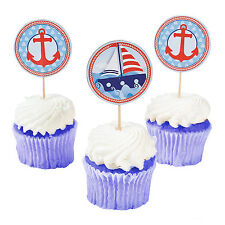 25 Nautical Cupcake Picks Baby Shower Cake Sailor Supplies Decorations