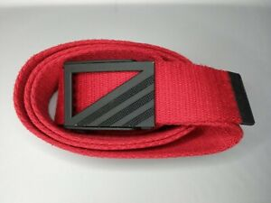 """Adidas Red Web Golf Belt Black Metal Buckle Men's One Size Fits up to 46"""" Waist"""