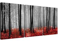 Red Forest Woodland Trees Canvas Prints Set of Three for your Living Room