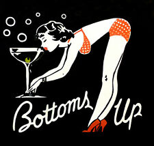 Original painting -  BOTTOMS UP  - Large size 102x102 cm - Vintage glamour