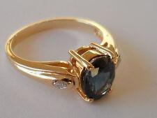 BEAUTIFUL RING 18K TANZANIAN COBALT BLUE SPINEL & DIAMOND GOLD RING ULTRA RARE.