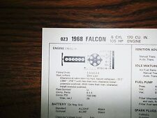1968 Ford Falcon Models 105 HP 170 CI L6 SUN Tune Up Chart Excellent Condition!