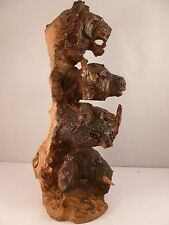 "STUNNING vintage "" Wild Animal ""  totem pole wood carving LION RHINO BISON etc"