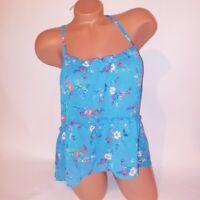 Hollister Tank Top Womens Medium Blue Floral Sheer Cross Back Hi Low