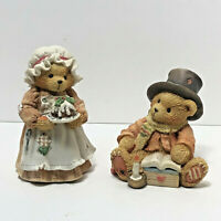 Cherished Teddies Christmas Bear Cratchet And Mrs Crachet Porcelein Figurines