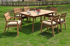"7 PC OUTDOOR DINING TEAK SET - 94"" DOUBLE EXT RECTANGLE TABLE, 6 STACKING CHAIRS"