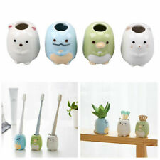 Cute Round Porcelain Toothbrush Stand Holder Bathroom Organizer Pen Holder