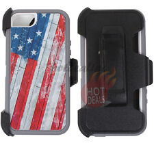 For iPhone 5/5s USA Flag Camo Case Cover (Belt Clip Fits OtterBox Defender)