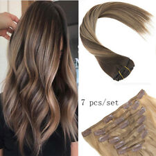 Sunny Remy Clip in Human Hair Extensions 7pcs 120gr Balayage Brown with Caramel