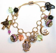 HALLOWEEN Charm Bracelet Black Cat Owl Witch Moon Charms Adjustable NEW