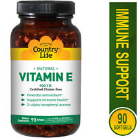 Country Life Natural Vitamin E 400 IU - 90 Count - Antioxidant & Immune Support
