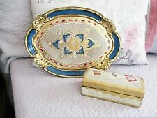 Vintage Italy Toleware Blue Gold Florentine Tray Stamp Box Chest Holder