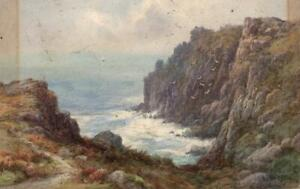LEWIS MORTIMER Antique Watercolour Painting LAND'S END CORNWALL - 20TH CENTURY