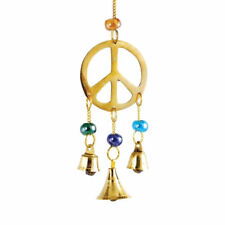 """Peace Sign Brass Wind Chime Gypsy Dreamcatcher-Style with Bells & Beads 9"""" Long"""