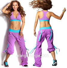 ZUMBA 2Pc.SET!! CARGO Hip Hop PANTS Converts-to-Capris w Snaps & Bra Top-ORCHID
