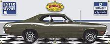 1973 PLYMOUTH 340 DUSTER GREEN RETRO CAR GARAGE SCENE BANNER SIGN ART MURAL 2X5