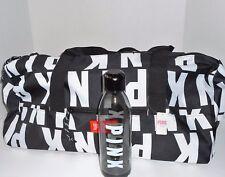 Victoria's Secret Pink Friday 2017 Duffle Bag & Water Bottle Black Logo NWT