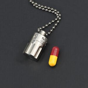 Waterproof Pill Container Jar Titanium EDC Emergency Pendant Revolver Cylinder