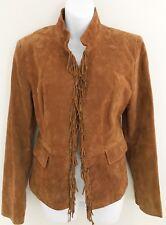 PAMELA MCCOY Women Genuine Leather Suede Jacket Size M Brown Lined Fringe Detail