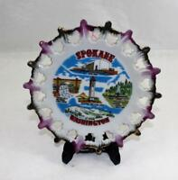 "Vintage 1970's Spokane Washington Souvenir Plate Scalloped Edges 7"" Diameter"