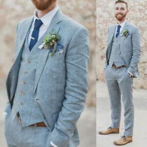 Mens Lake Blue Linen Suits Groom Groomsman Wedding Tuxedos 3 Piece Best Man Suit
