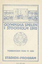 Jeux Olympiques Stockholm 1912 Très Rare Programme de 64 p Journée du 11/07/1912