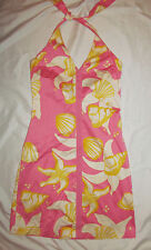 TIBI stretchy retro go go mod style floral summer halter dress 4 NWOT