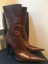 Icone Brown Leather Ankle Stiletto Heels Pointy Toes Ankle Boots Size 7 M