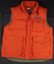 Rare Vintage TOMMY HILFIGER Spell Out Flag Down Puffer Vest Jacket 90s Orange XL