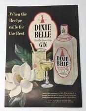 Original Print Ad 1951 DIXIE BELLE GIN Vintage Artwork Magnolia